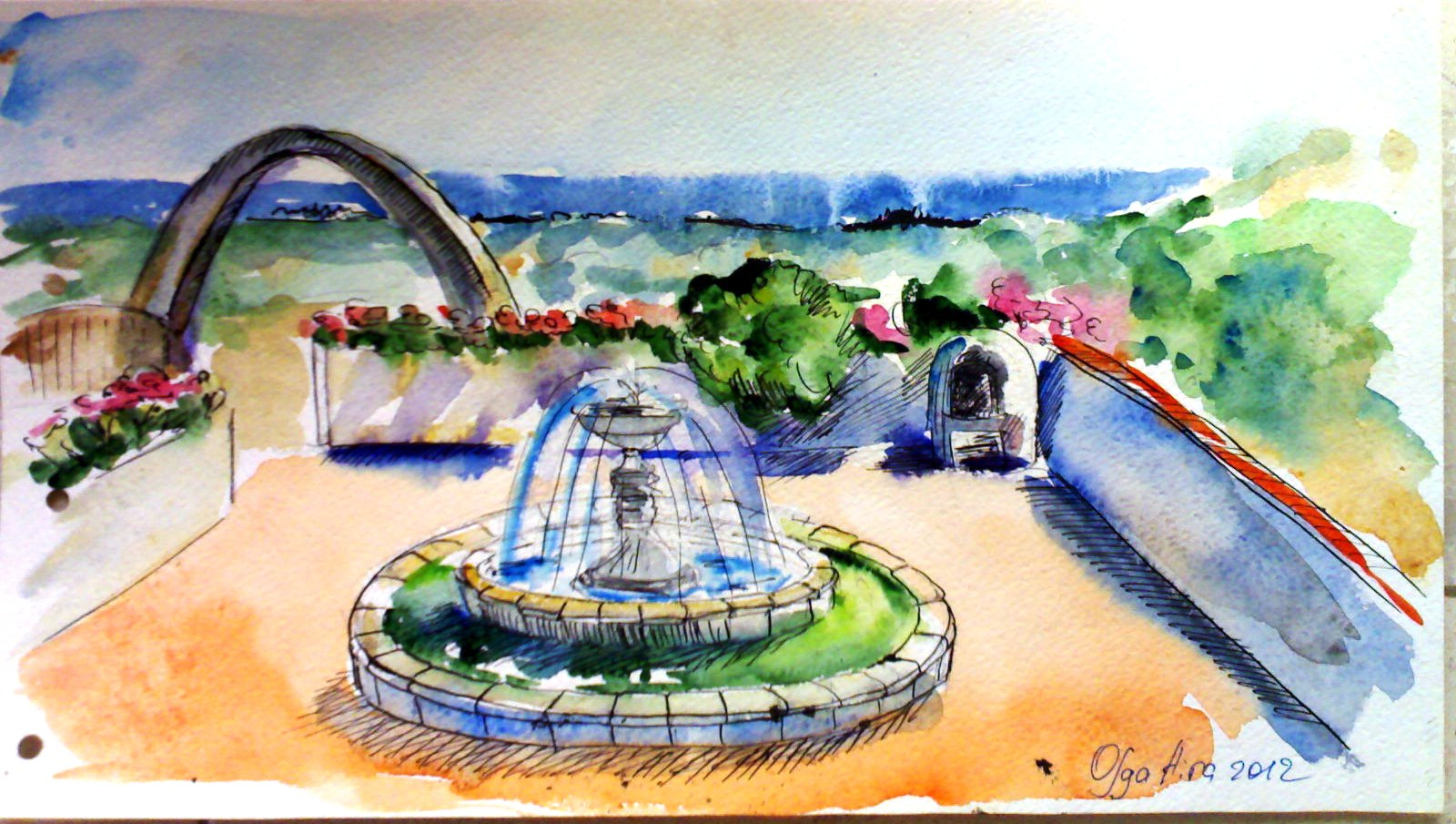 рисунки фонтана дом