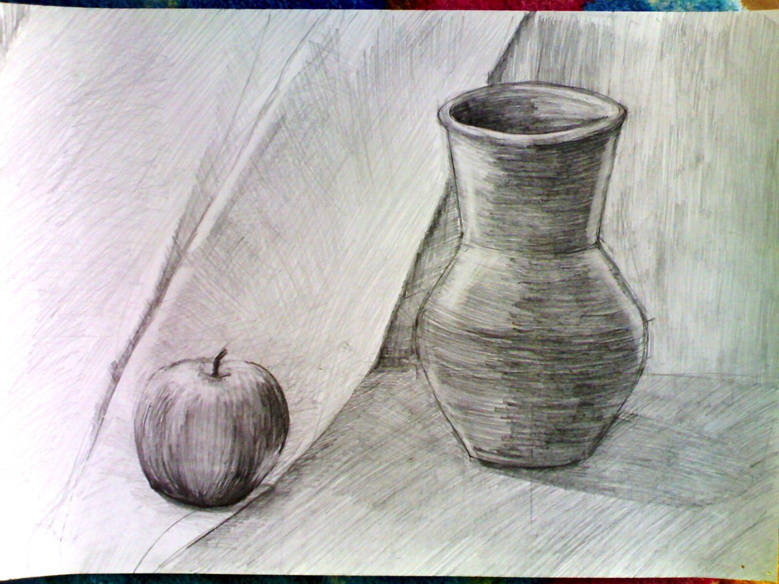натюрморт карандашом простой: