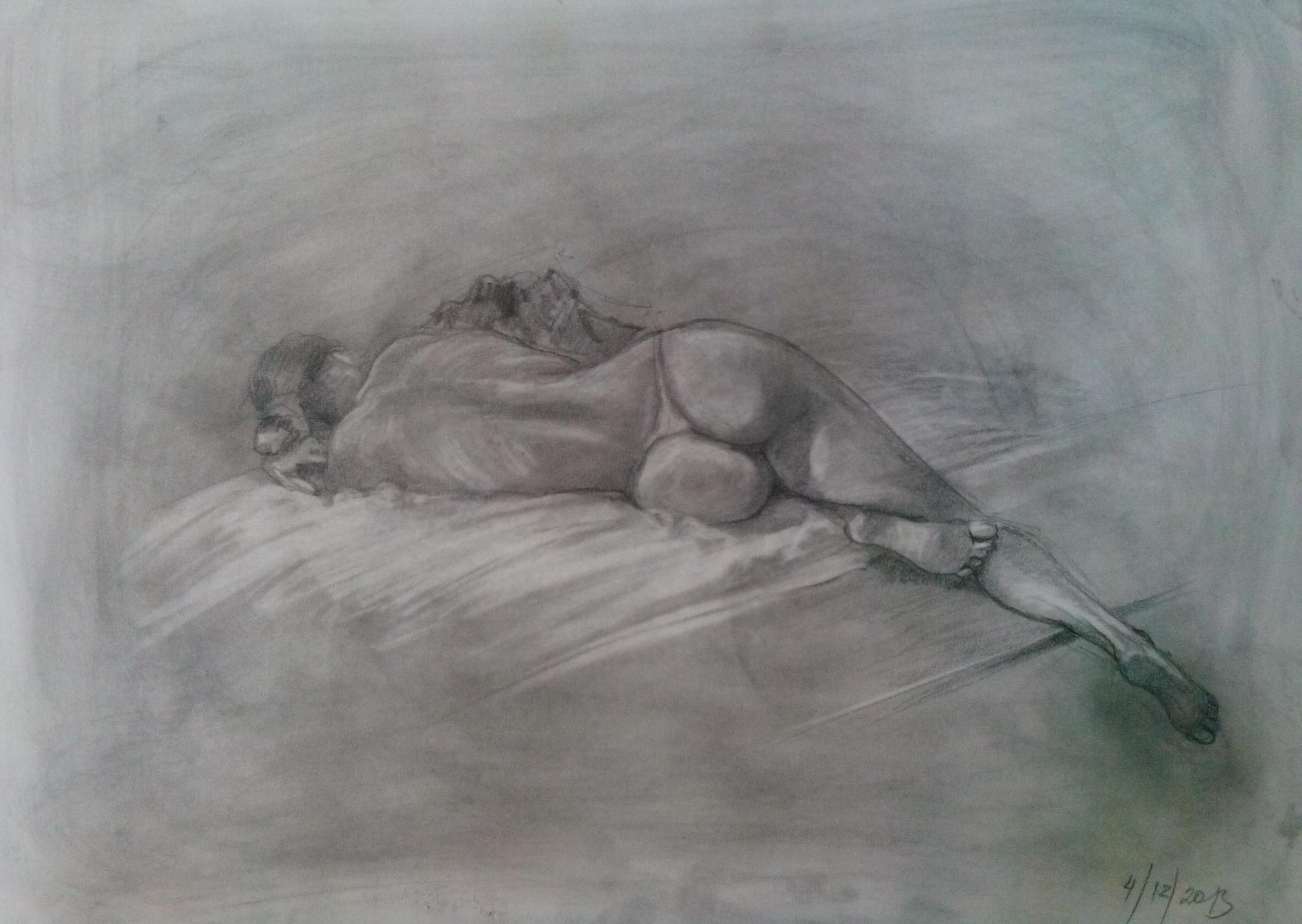 Рисунок карандашом голых девушек довольной!